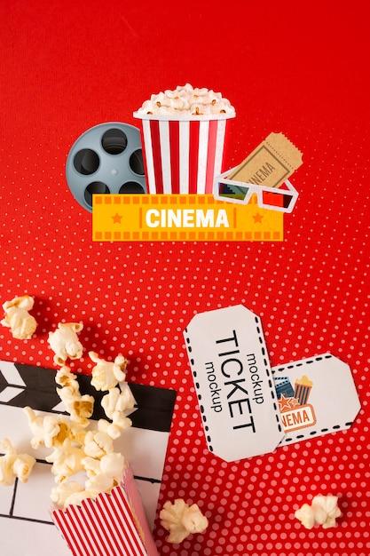 Popcorn and cinema tickets Free Psd