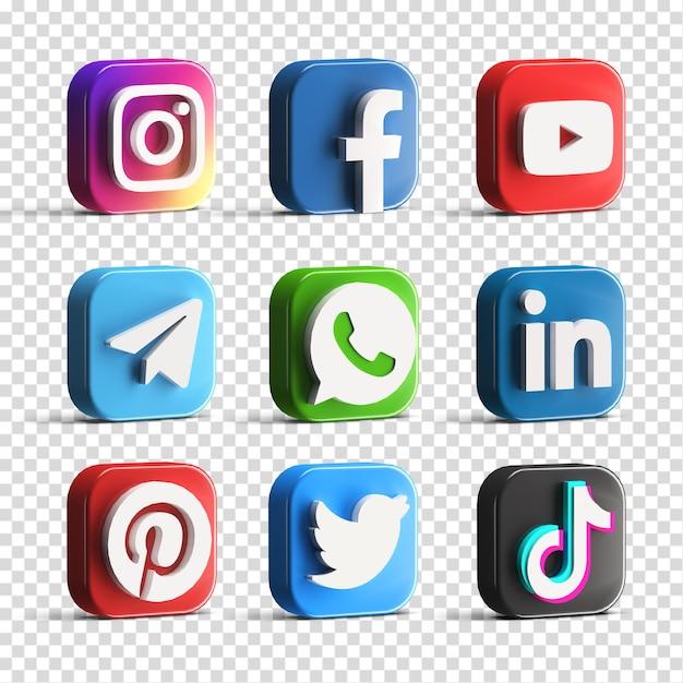Popular glossy social media logo icon set collection