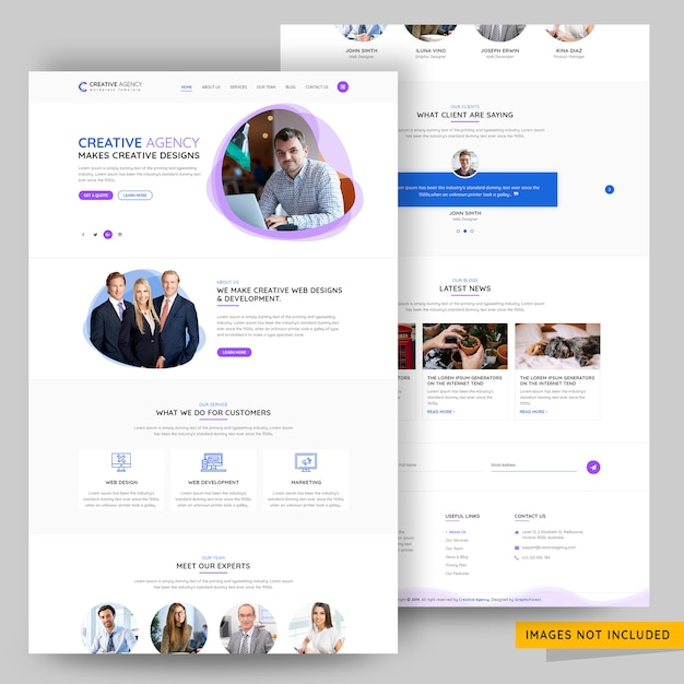 Portfolio and creative design agency landing page premium psd Premium Psd