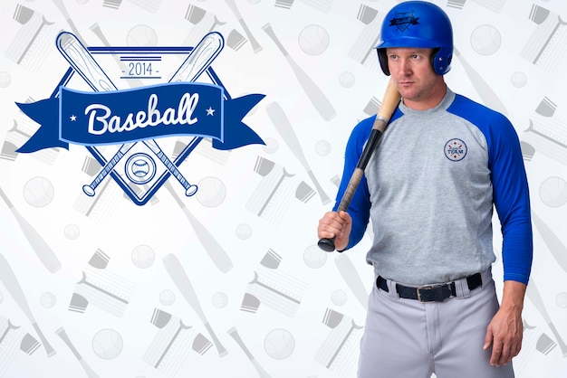 Portrait of baseball player with helmet Free Psd