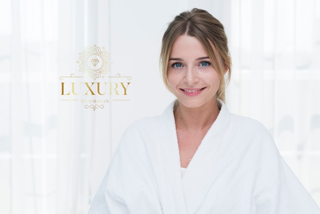 Portrait of beautiful woman for spa template Free Psd