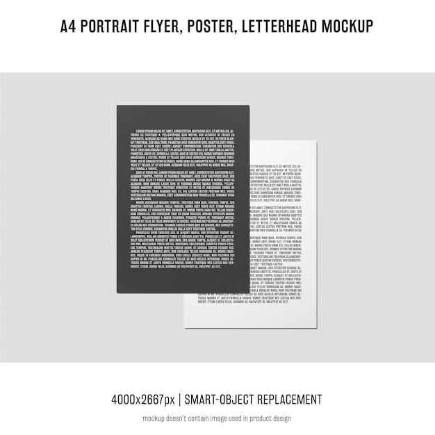 Portrait flyer, poster, letterhead mockup Free Psd