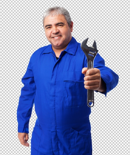 Portrait of a mechanic holding a monkey wrench Premium Psd