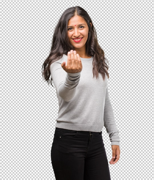 Portrait of young indian woman inviting to come Premium Psd