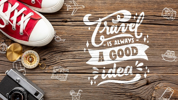 Positive message to inspire travel Free Psd