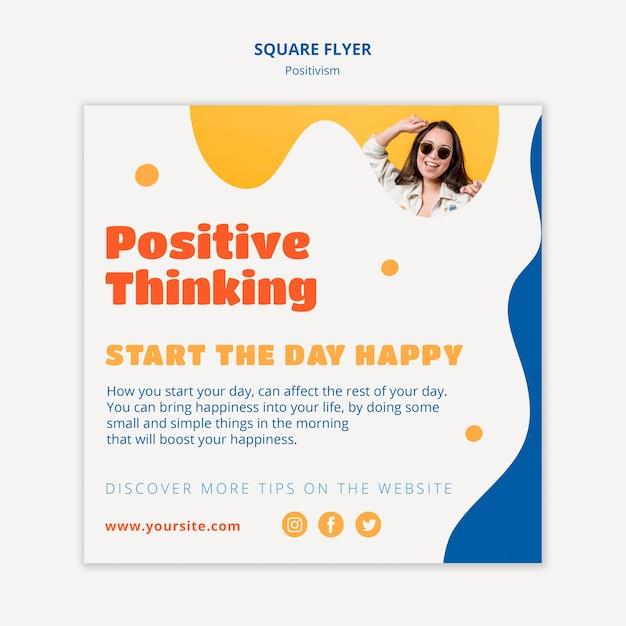 Позитивное мышление квадратный стиль флаера Бесплатные Psd