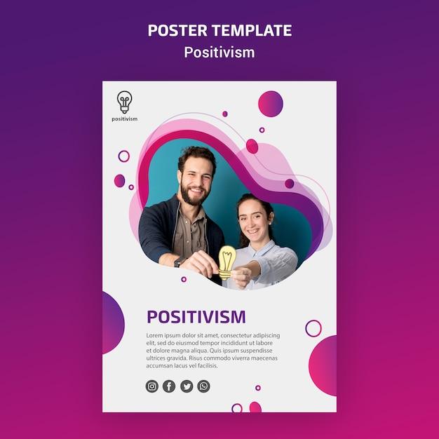 포지티브 개념 포스터 템플릿 무료 PSD 파일