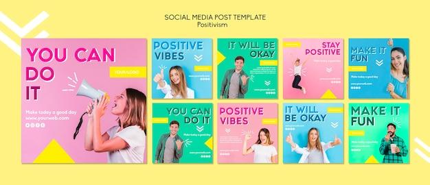 Позитивизм шаблон поста в социальных сетях Бесплатные Psd