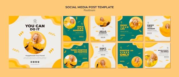 소셜 미디어 게시물을위한 포지티브주의 템플릿 무료 PSD 파일