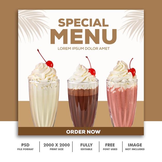 Шаблон post square banner для instagram, ресторан еда специальное меню напиток молочный коктейль Premium Psd