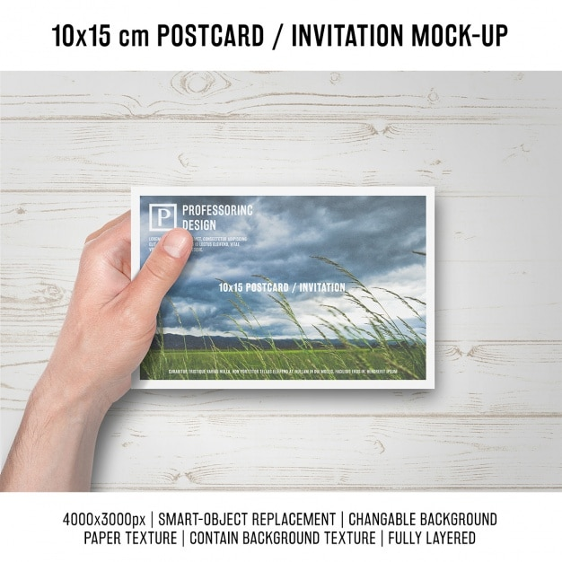 Postcard mock up design Free Psd