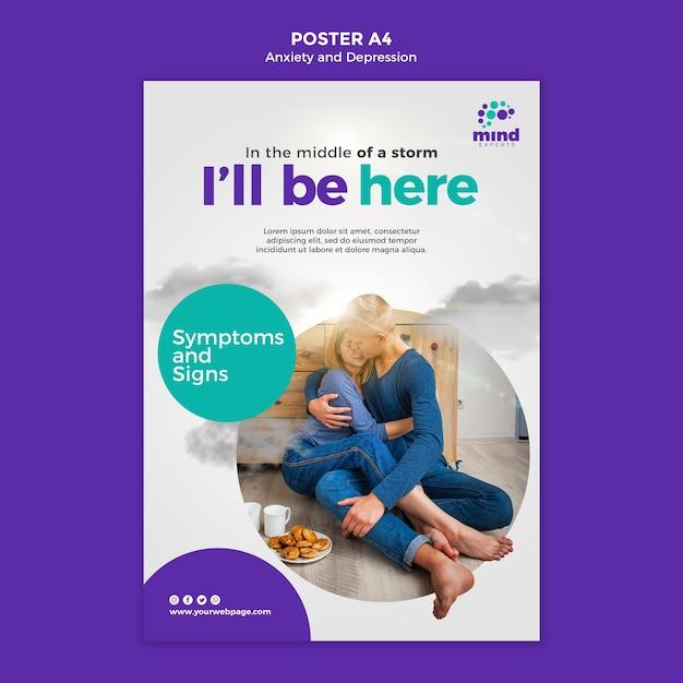 ポスター不安とうつ病のテンプレート Premium Psd