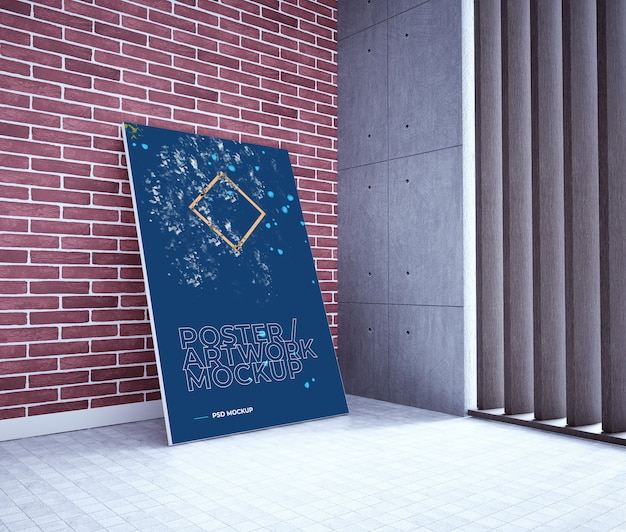Poster / artwork psd mockup on brick wall. poster mockup in interior Premium Psd