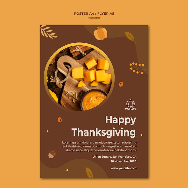 Poster autumn fest ad template Free Psd