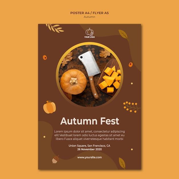 Poster autumn fest template Premium Psd