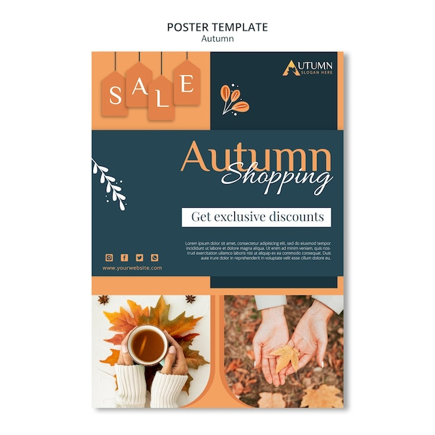 Poster autumn sale template Free Psd