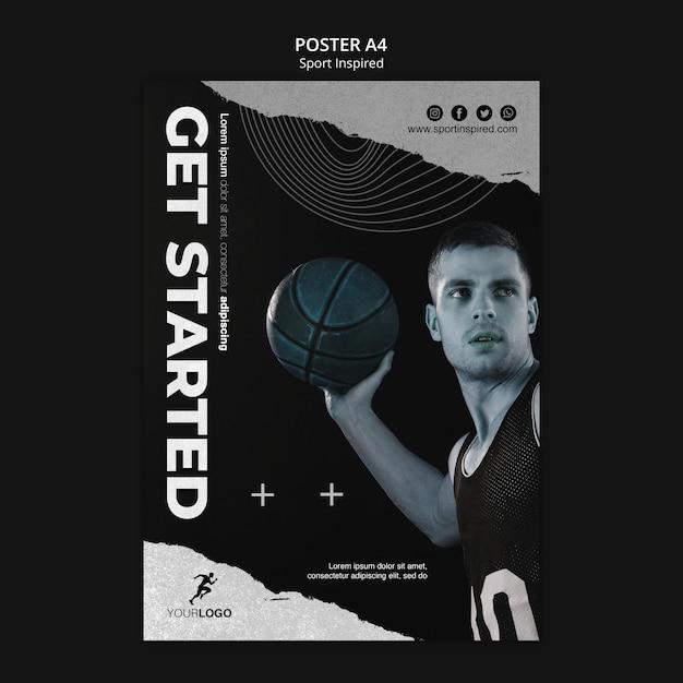 포스터 농구 훈련 템플릿 프리미엄 PSD 파일