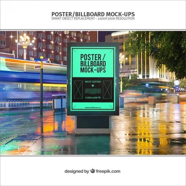 Poster billboard mockup Free Psd