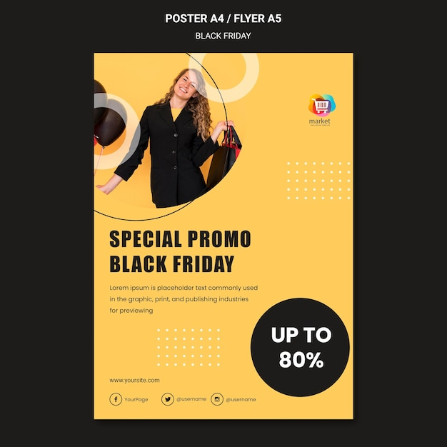 Poster black friday ad template Free Psd