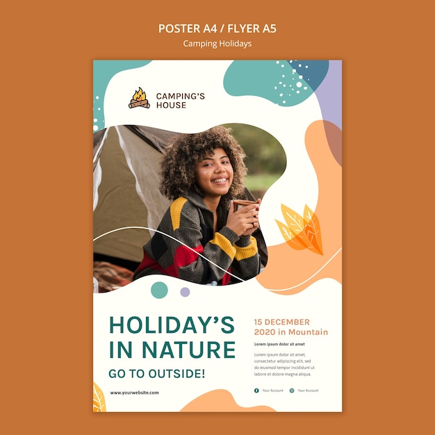 Poster camping holidays template Free Psd