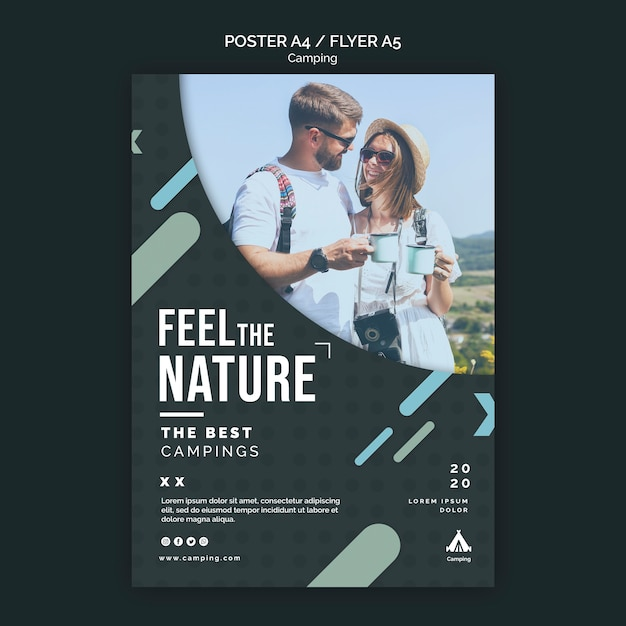 Poster camping place ad template Free Psd