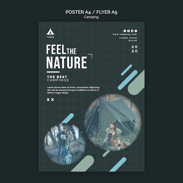 Poster camping place template Premium Psd