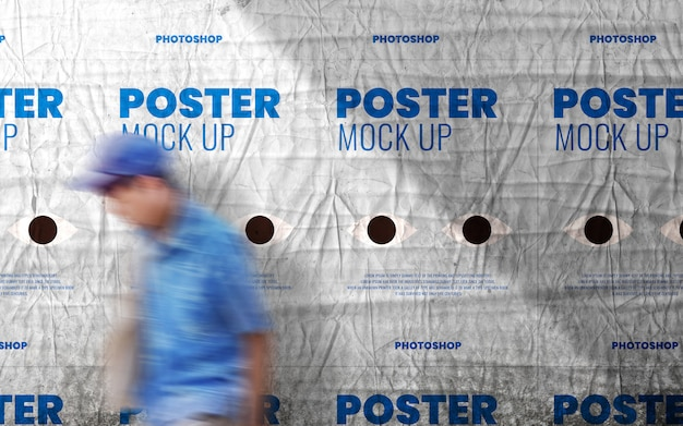 Poster on cast shadow wall mockup Premium Psd
