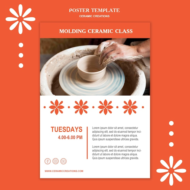 Poster ceramic creations ad template Free Psd