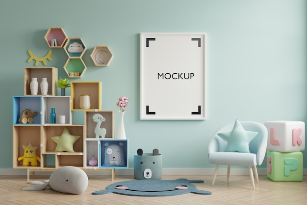 Poster in child room interior Free Psd