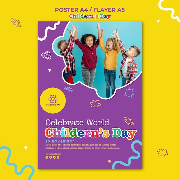 Poster children's day template Free Psd