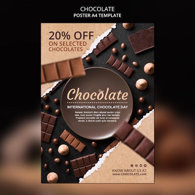 Шаблон магазина шоколада плакат Бесплатные Psd