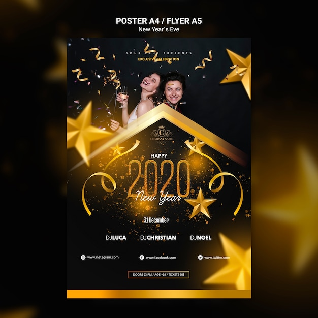 Концепция плаката на новый год шаблон Бесплатные Psd