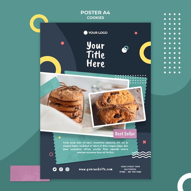Modello di annuncio del negozio di biscotti poster Psd Gratuite