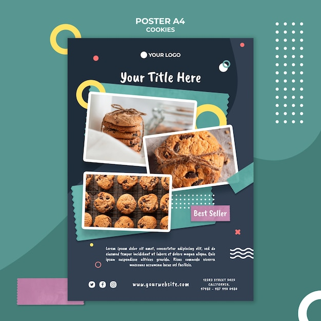 Poster cookie shop template Free Psd