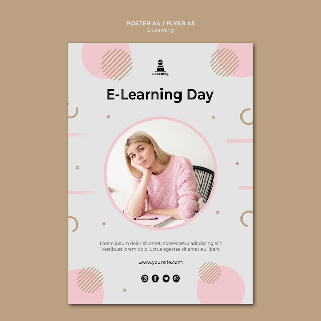 Poster design e-learning concept Free Psd
