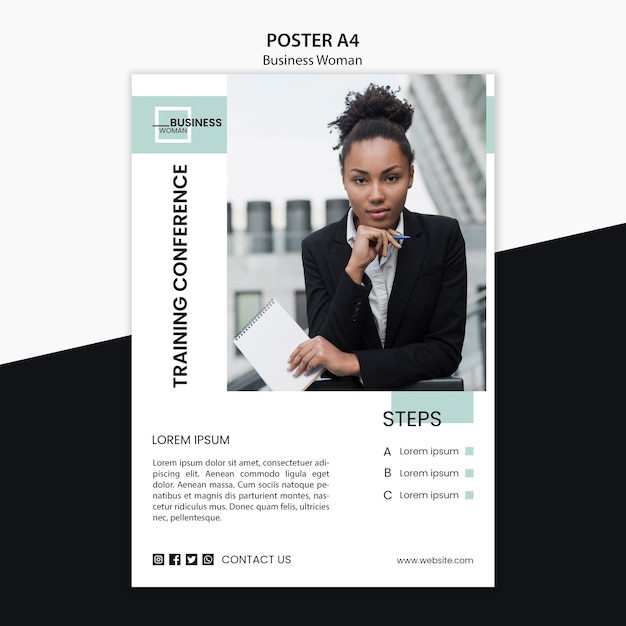 Poster design with business woman concept Free Psd