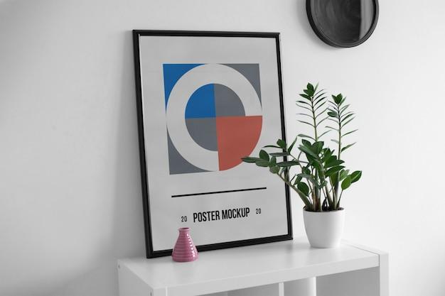 Poster on desk mockup Premium Psd