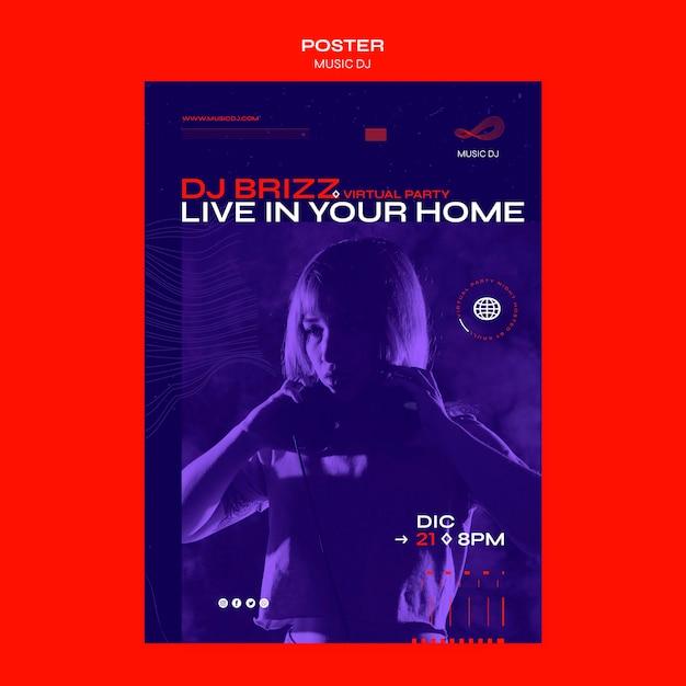Плакат dj установил шаблон прямой трансляции Бесплатные Psd