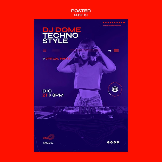 포스터 Dj 라이브 스트림 템플릿 설정 프리미엄 PSD 파일
