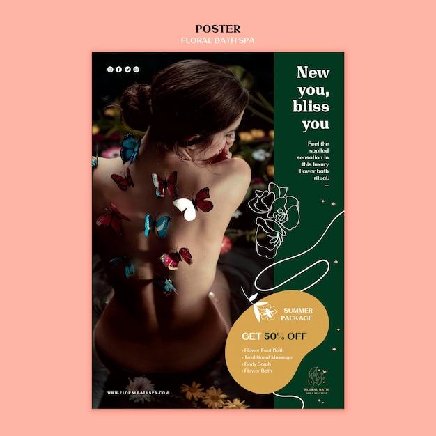 Modello di annuncio di poster floreale spa Psd Gratuite