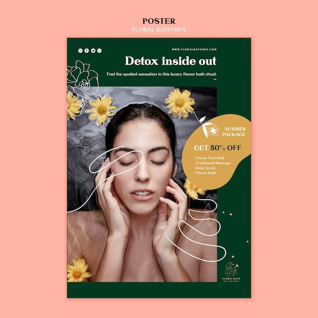 Плакат цветочный спа шаблон Premium Psd