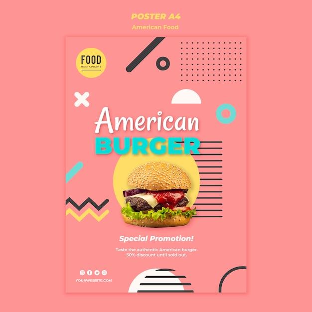 ハンバーガーとアメリカ料理のポスター 無料 Psd
