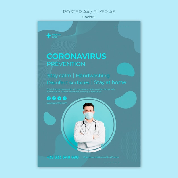 Плакат для профилактики коронавируса Бесплатные Psd