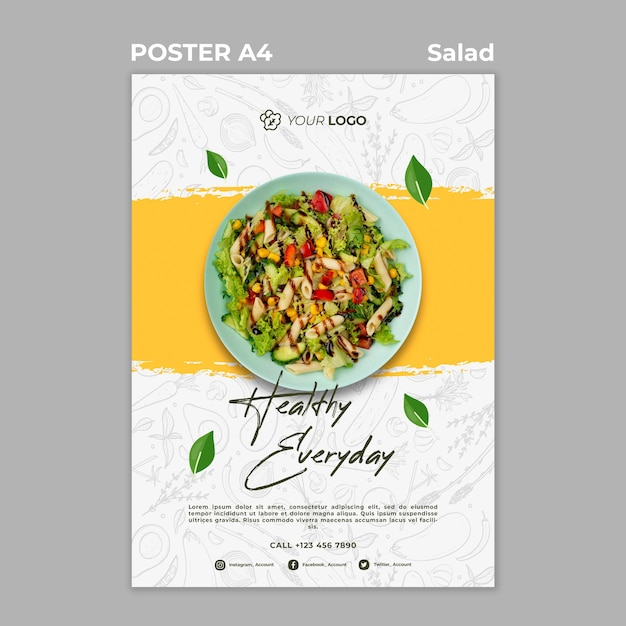 ヘルシーサラダランチのポスター 無料 Psd