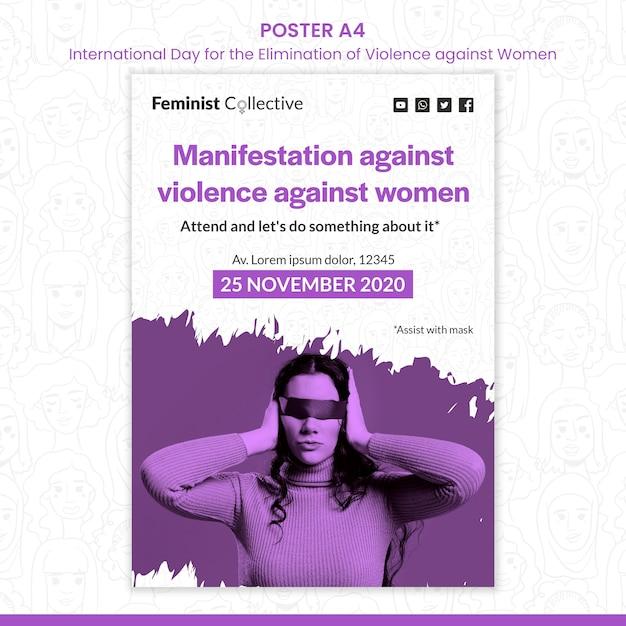 Плакат к международному дню борьбы за ликвидацию насилия в отношении женщин Бесплатные Psd