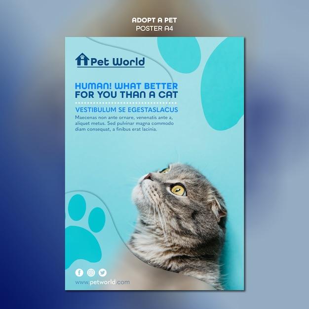 고양이와 애완 동물 입양 포스터 무료 PSD 파일