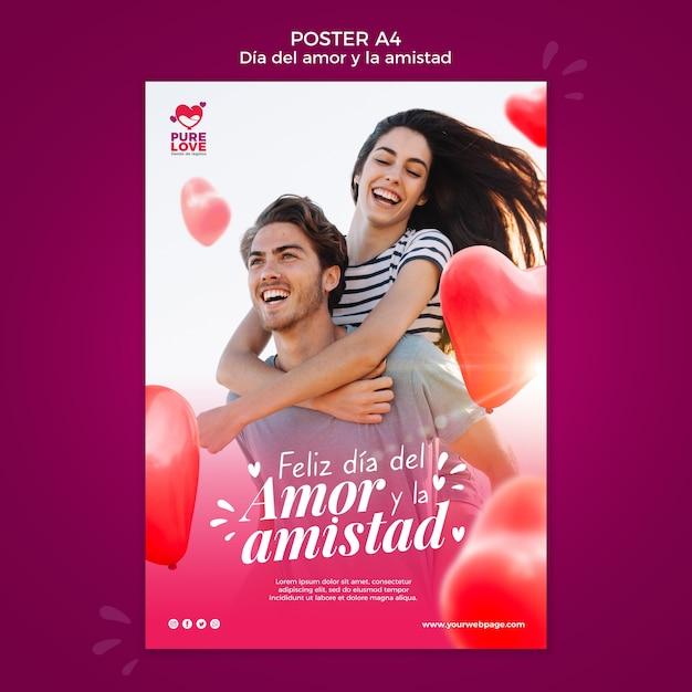 Плакат для празднования дня святого валентина Бесплатные Psd