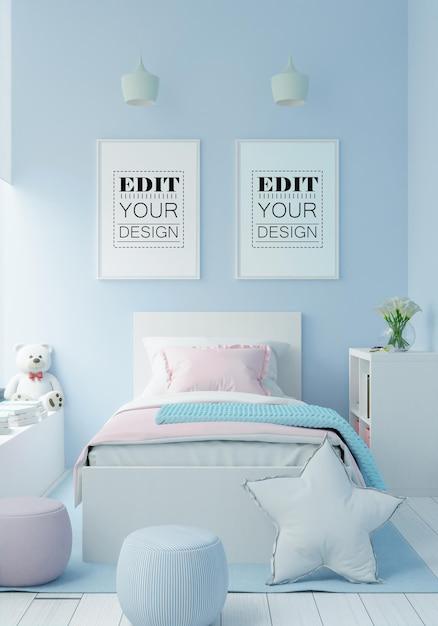 Cornice poster in mockup camera da letto per bambini Psd Gratuite
