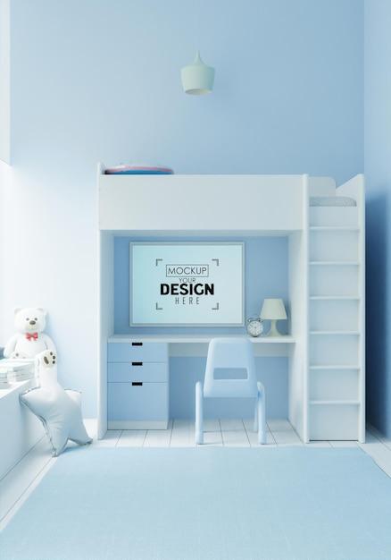 子供の寝室のモックアップのポスターフレーム 無料 Psd