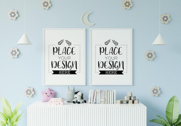 Рамка для постера в макете детской спальни Бесплатные Psd